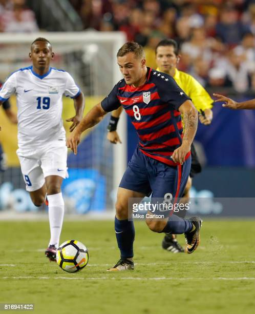 Jordan Morris of the United States against Martinique during the first half of the CONCACAF Group B match at Raymond James Stadium on July 12 2017 in...