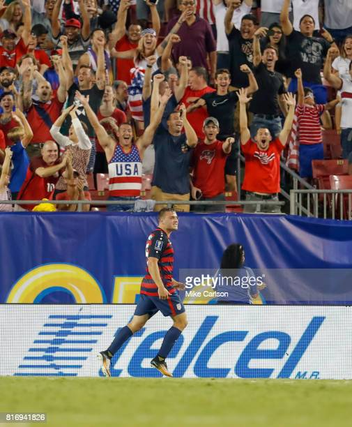 Jordan Morris of the United States celebrates a goal against Martinique during the second half of the CONCACAF Group B match at Raymond James Stadium...