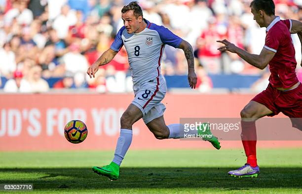 Jordan Morris of the United States controls the ball against Serbia in the second half of the match at Qualcomm Stadium on January 29 2017 in San...