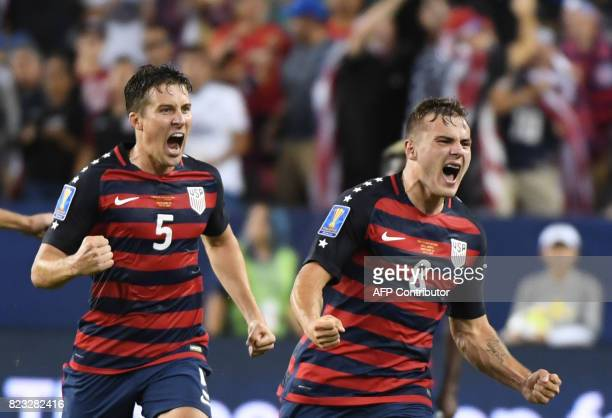 Jordan Morris of the USA celebrates scoring a goal against Jamaica followed by teammate Matt Besler during the final football game of the 2017...
