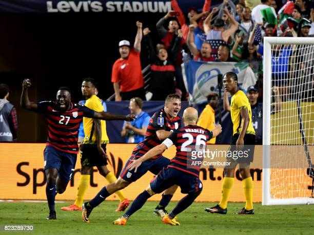 Jordan Morris of the USA celebrates scoring a goal against Jamaica during the final football game of the 2017 CONCACAF Gold Cup at the Levi's Stadium...
