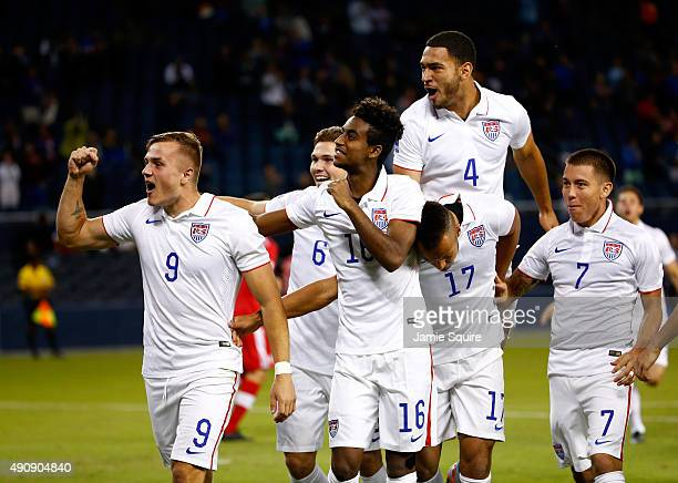Jordan Morris of the USA celebrates with teammates after scoring a goal during the 1st minute of the 2015 CONCACAF Olympic Qualifying match against...