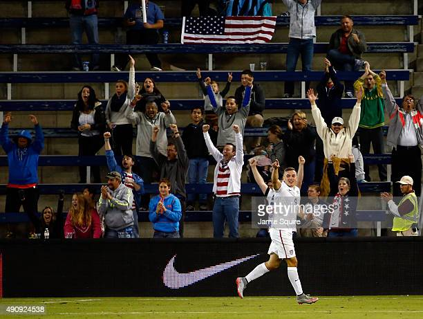 Jordan Morris of the USA reacts after scoring a goal during the 2nd half of the 2015 CONCACAF Olympic Qualifying match against Canada at Sporting...