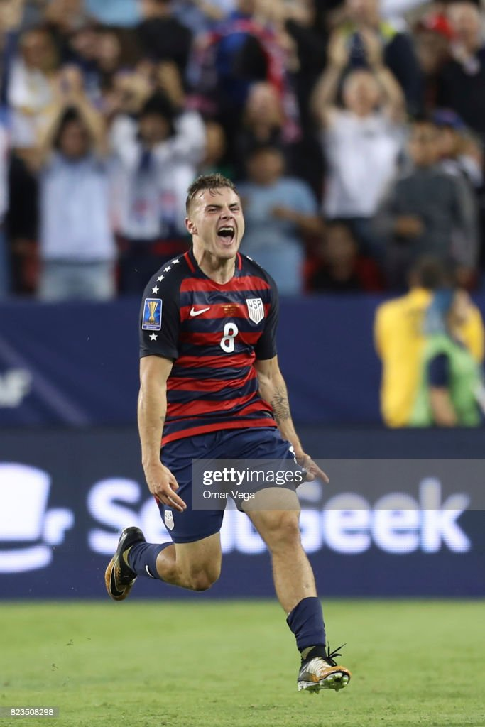 Jordan Morris of United States celebrates after scoring the second goal of his team during the CONCACAF Gold Cup 2017 final match between United States and Jamaica at Levi's Stadium on July 26, 2017 in Santa Clara, California.