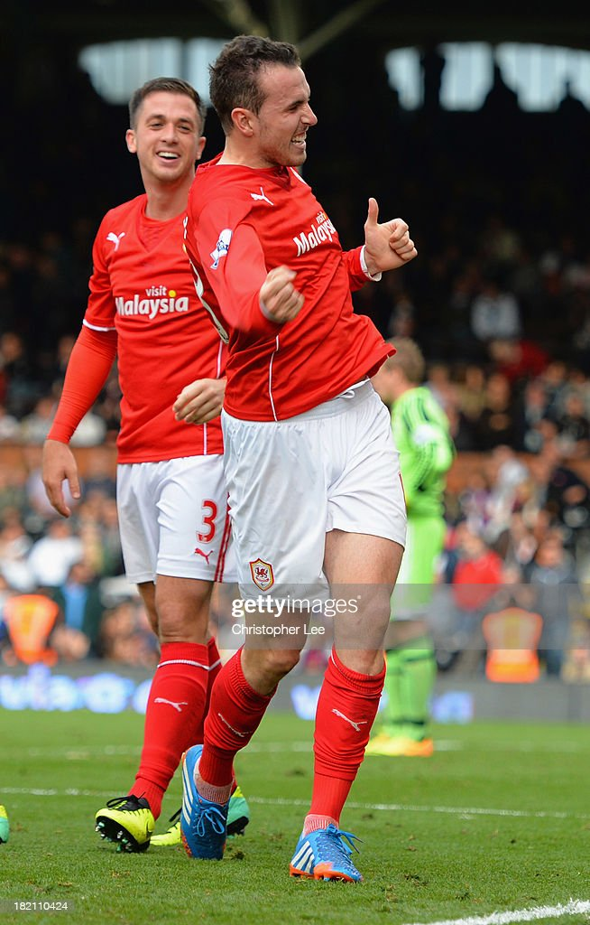 Jordan Mutch of Cardiff celebrates after scoring their winning goal during the Barclays Premier League match between Fulham and Cardiff City at Craven Cottage on September 28, 2013 in London, England.