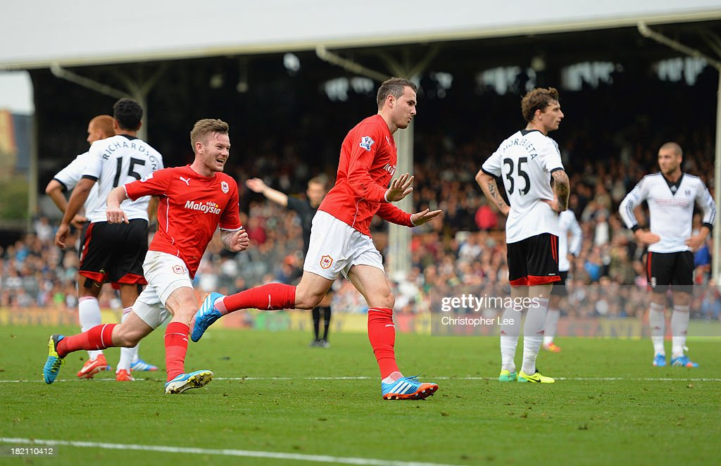 Jordan Mutch of Cardiff celebrates scoring their winning goal during the Barclays Premier League match between Fulham and Cardiff City at Craven Cottage on September 28, 2013 in London, England.