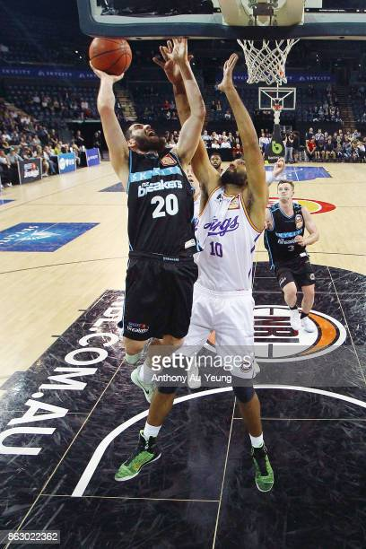 Jordan Ngatai of the Breakers puts up a shot against Amritpal Singh of the Kings during the round three NBL match between the New Zealand Breakers...