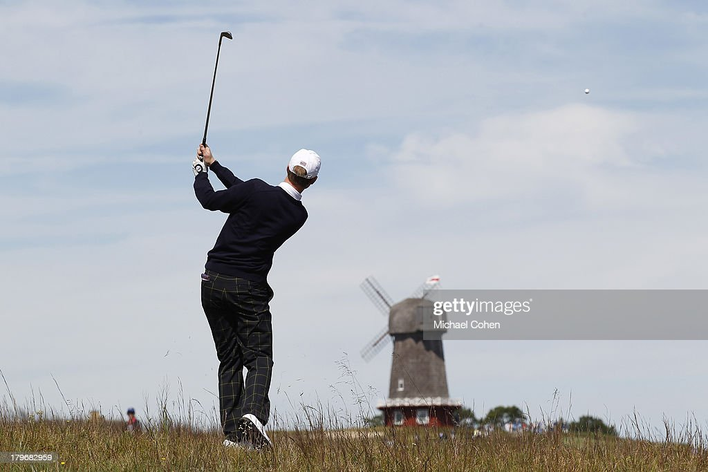 Jordan Niebrugge of the United States team hits a shot from the rough during previews ahead of the 2013 Walker Cup at National Golf Links of America on September 6, 2013 in Southampton, New York.