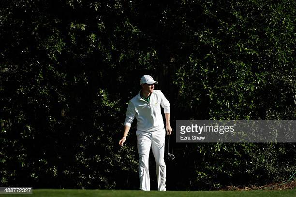 Jordan Niebrugge walks off the tee box on the fifth hole during the first round of the 2014 Masters Tournament at Augusta National Golf Club on April...