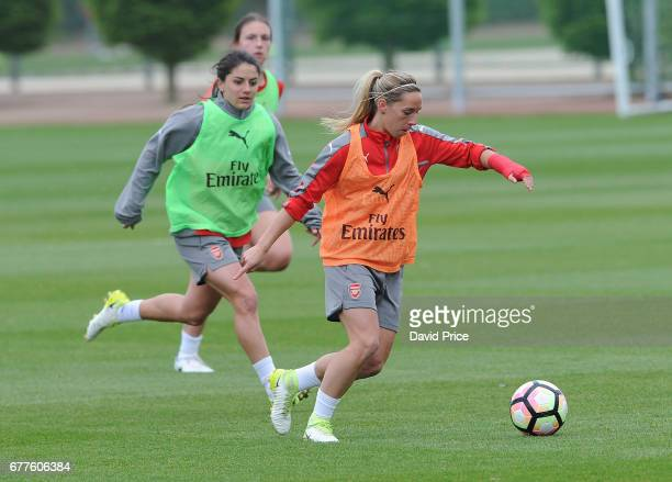 Jordan Nobbs and Danielle van de Donk of Arsenal Ladies during an Arsenal Ladies Training Session at London Colney on May 3 2017 in St Albans England
