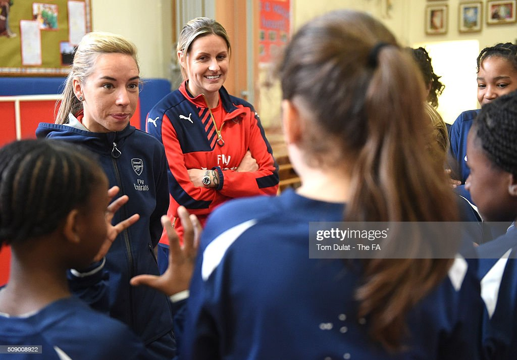 <a gi-track='captionPersonalityLinkClicked' href=/galleries/search?phrase=Jordan+Nobbs&family=editorial&specificpeople=5584926 ng-click='$event.stopPropagation()'>Jordan Nobbs</a> (L) and Kelly Smith (R) of Arsenal Ladies interact with kids during the SSE Women's FA Cup Draw on February 8, 2016 in London, England. (Photo by Tom Dulat - The FA/The FA via Getty Images).