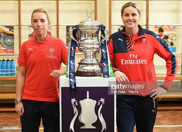 Jordan Nobbs and Kelly Smith of Arsenal Ladies pose for photographs with The SSE Women's FA Cup Trophy during the SSE Women's FA Cup Draw on February...