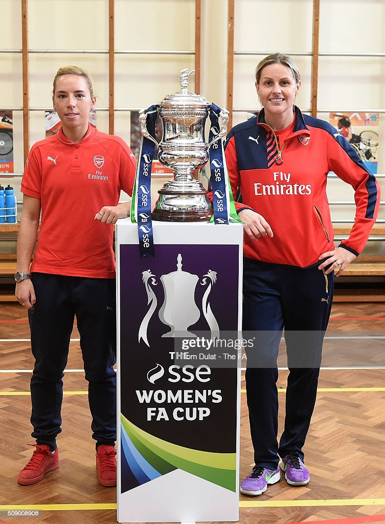 <a gi-track='captionPersonalityLinkClicked' href=/galleries/search?phrase=Jordan+Nobbs&family=editorial&specificpeople=5584926 ng-click='$event.stopPropagation()'>Jordan Nobbs</a> (L) and Kelly Smith (R) of Arsenal Ladies pose for photographs with The SSE Women's FA Cup Trophy during the SSE Women's FA Cup Draw on February 8, 2016 in London, England. (Photo by Tom Dulat - The FA/The FA via Getty Images).