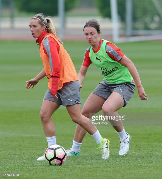 Jordan Nobbs and Lotte WubbenMoy of Arsenal Ladies during an Arsenal Ladies Training Session at London Colney on May 3 2017 in St Albans England