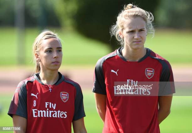 Jordan Nobbs and Vivianne Miedema of Arsenal Women during an Arsenal Women Training Session at London Colney on August 25 2017 in St Albans England