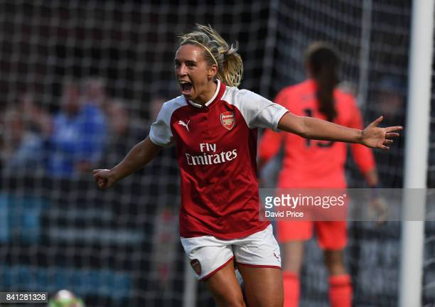Jordan Nobbs celebrates scoring Arsenal's 1st goal during the match between Arsenal Women and Everton Ladies at Meadow Park on August 31 2017 in...
