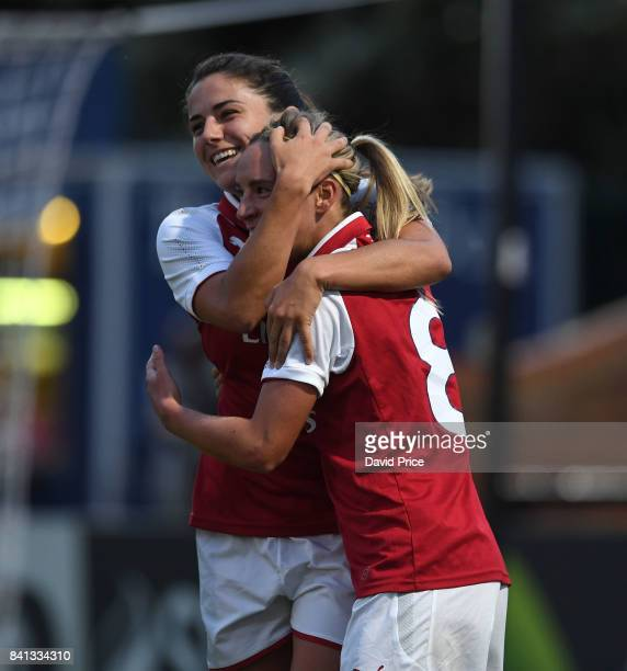 Jordan Nobbs celebrates scoring Arsenal's 1st goal with Danielle van de Donk during the match between Arsenal Women and Everton Ladies at Meadow Park...
