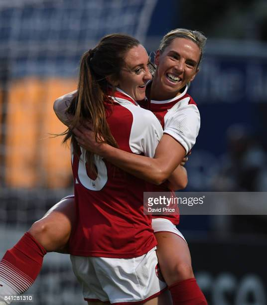 Jordan Nobbs celebrates scoring Arsenal's 1st goal with Lisa Evans during the match between Arsenal Women and Everton Ladies at Meadow Park on August...