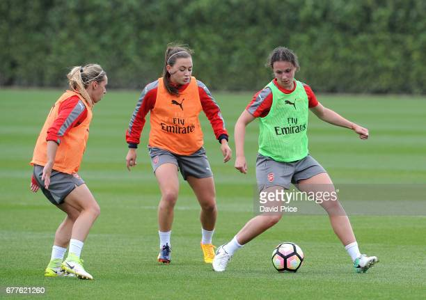 Jordan Nobbs KAtie McCabe and Lotte WubbenMoy of Arsenal Ladies during an Arsenal Ladies Training Session at London Colney on May 3 2017 in St Albans...