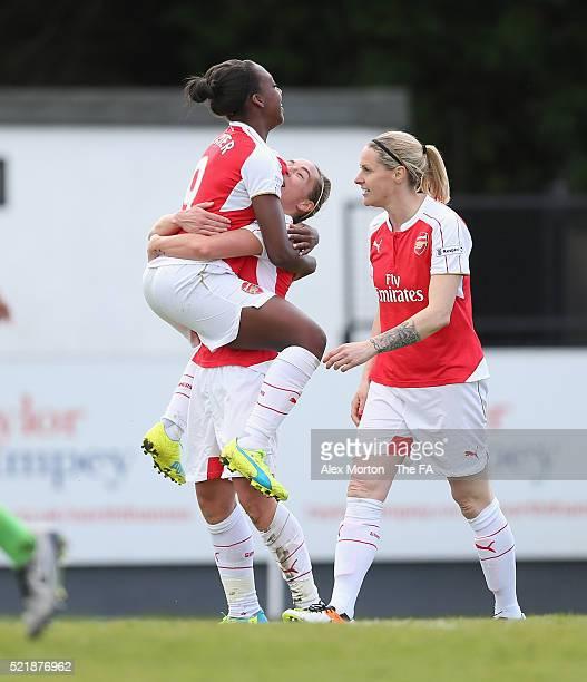 Jordan Nobbs of Arsenal celebrates after scoring their fifth goal with team mate Dan Carter during the SSE Women's FA Cup Semifinal match between...