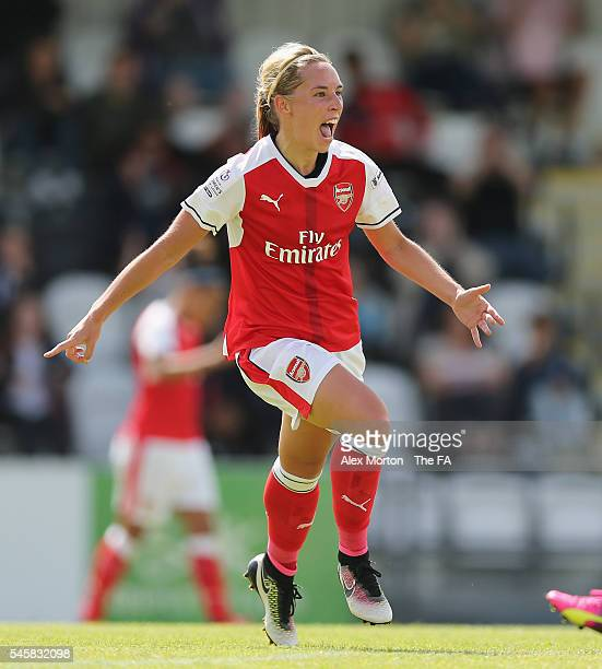 Jordan Nobbs of Arsenal celebrates after scoring their second goal during the WSL match between Arsenal Ladies and Notts County Ladies at Meadow Park...