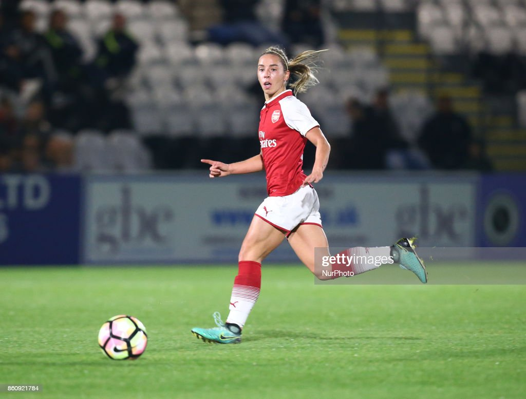 Jordan Nobbs of Arsenal during The FA WSL Continental Tyres Cup match between Arsenal against London Bees at Meadow Park Borehamwood FC on 12 Oct 2017