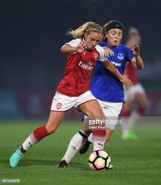 Jordan Nobbs of Arsenal holds off Simone Magill of Everton during the match between Arsenal Women and Everton Ladies at Meadow Park on August 31 2017...