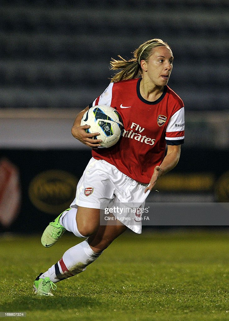 Jordan Nobbs of Arsenal Ladies celebrates after scoring the first goal of the game for her side during the FA WSL match between Lincoln Ladies FC and Arsenal Ladies FC at the Sincil Bank Stadium on May 15, 2013 in Lincoln, England