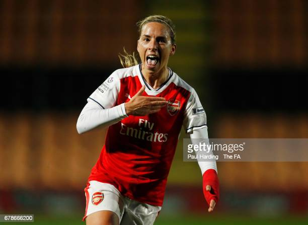 Jordan Nobbs of Arsenal Ladies celebrates as she scores their fourth goal during the WSL 1 match between Arsenal Ladies and Liverpool Ladies at The...