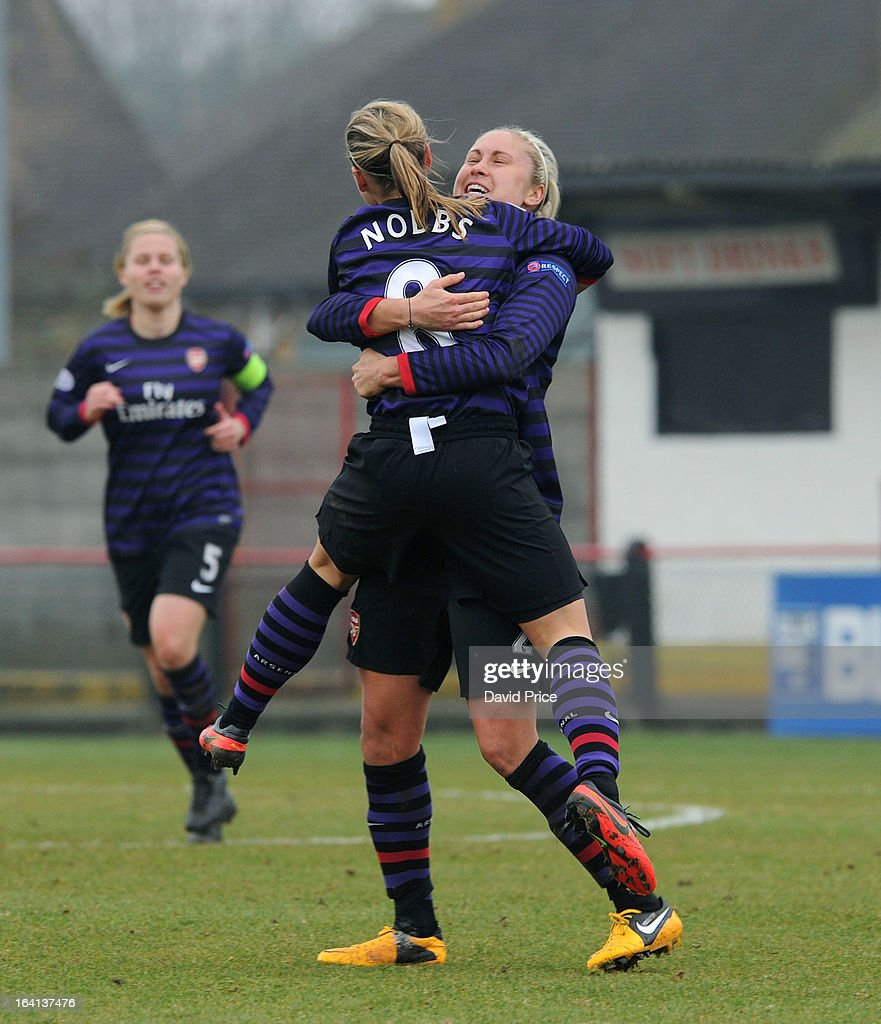 Jordan Nobbs (R) of Arsenal Ladies FC celebrates with team-mate Steph Houghton after scoring their 2nd goal with during the Women's Champions League Quarter Final match between Arsenal Ladies FC and ASD Torres CF at Meadow Park on March 20, 2013 in Borehamwood, United Kingdom.