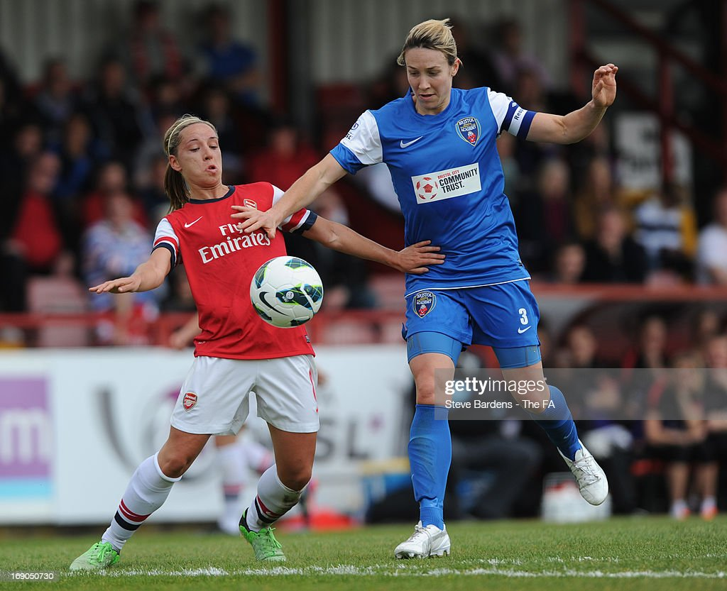 Jordan Nobbs of Arsenal Ladies FC challenges for the ball with Corinne Yorston of Bristol Academy Women's FC during the FA WSL Continental Cup match between Arsenal Ladies FC and Bristol Academy>> at Meadow Park on May 19, 2013 in Borehamwood, England.