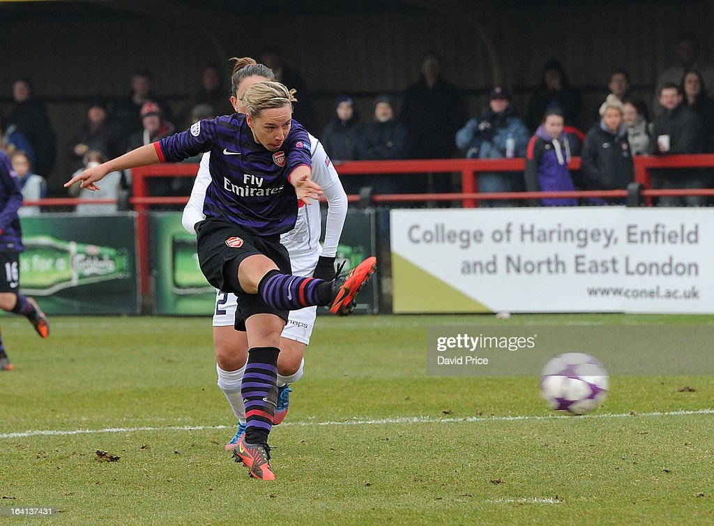 Jordan Nobbs of Arsenal Ladies FC scores their 2nd goal during the Women's Champions League Quarter Final match between Arsenal Ladies FC and ASD Torres CF at Meadow Park on March 20, 2013 in Borehamwood, United Kingdom.