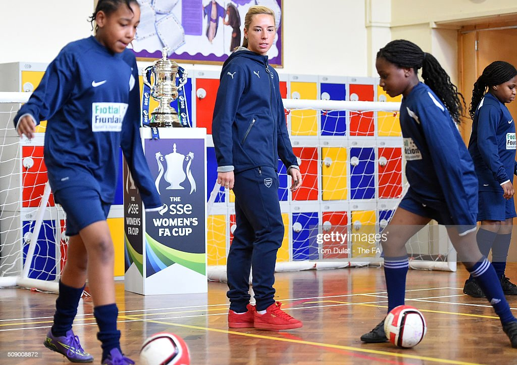 <a gi-track='captionPersonalityLinkClicked' href=/galleries/search?phrase=Jordan+Nobbs&family=editorial&specificpeople=5584926 ng-click='$event.stopPropagation()'>Jordan Nobbs</a> of Arsenal Ladies takes part in activities during the SSE Women's FA Cup Draw on February 8, 2016 in London, England. (Photo by Tom Dulat - The FA/The FA via Getty Images).