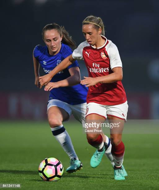 Jordan Nobbs of Arsenal takes on Megan Finnigan of Everton during the match between Arsenal Women and Everton Ladies at Meadow Park on August 31 2017...