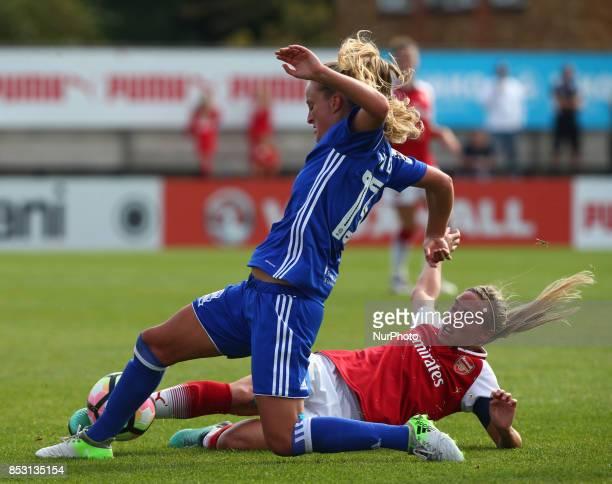 Jordan Nobbs of Arsenal Women tackles Marisa Ewers of Birmingham City LFCduring Women's Super League 1 match between Arsenal Women FC against...