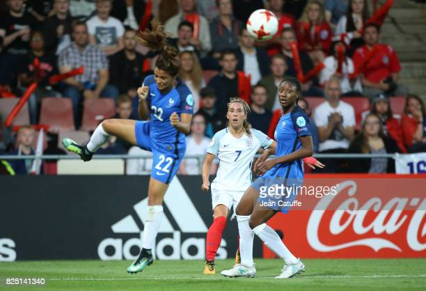Jordan Nobbs of England between Sakina Karchaoui and Kadidiatou Diani of France during the UEFA Women's Euro 2017 quarter final match between England...