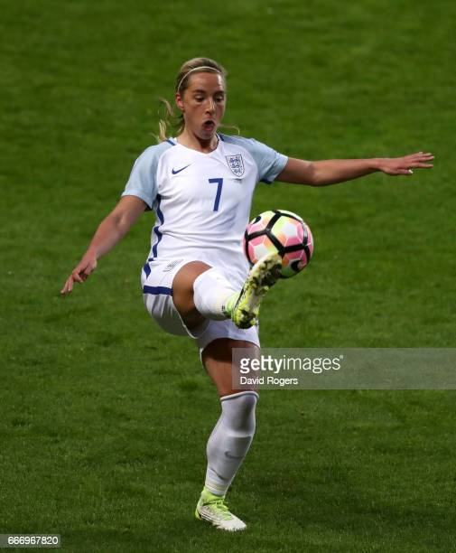 Jordan Nobbs of England controls the ball during the Women's International Friendly match between England and Austria at Stadium mk on April 10 2017...