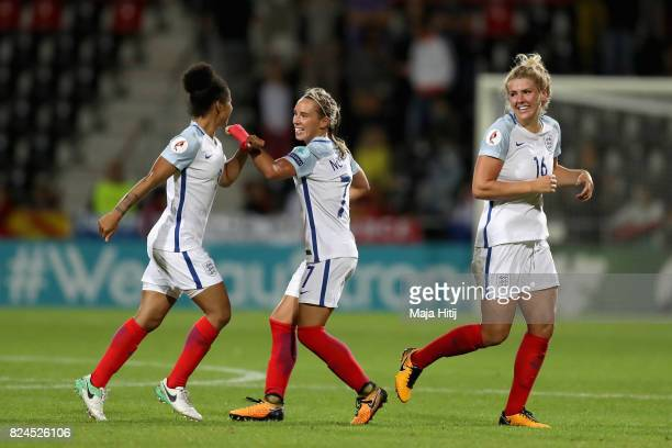 Jordan Nobbs of England Millie Bright of England andDemi Stokes of England celebrate victroy after the UEFA Women's Euro 2017 Quarter Final match...