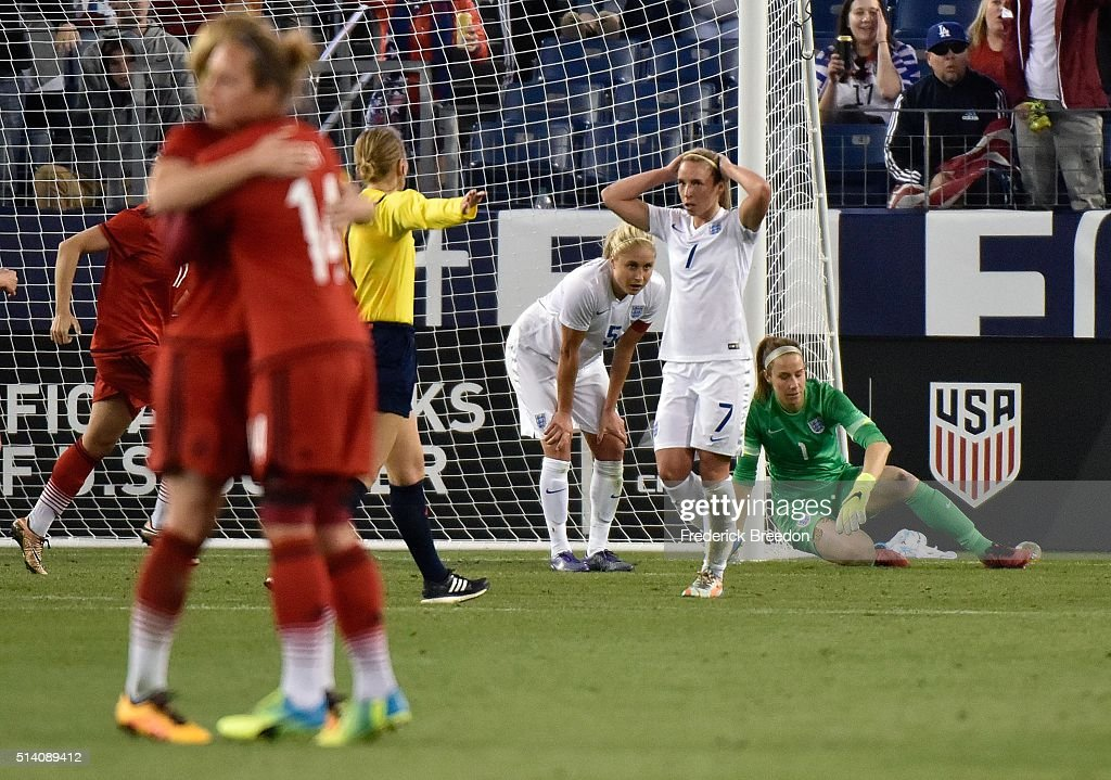 Jordan Nobbs #7 of England reacts after a goal by Germany that went off the foot of teammate Gilly Flaherty during the second half of a friendly international match in the Shebelieves Cup at Nissan Stadium on March 6, 2016 in Nashville, Tennessee.