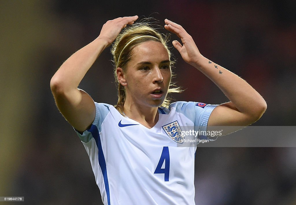 Jordan Nobbs of England reacts during the UEFA Women's European Qualifer between England and Belgium at The New York Stadium on April 8, 2016 in Rotherham, England.