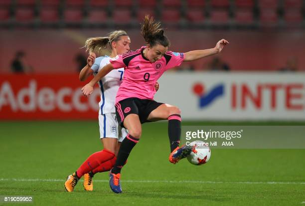 Jordan Nobbs of England Women and Caroline Weir of Scotland Women during the UEFA Women's Euro 2017 match between England and Scotland at Stadion...