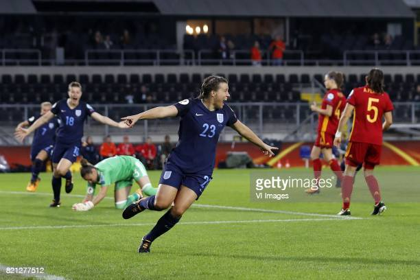 Jordan Nobbs of England women Ellen White of England women goalkeeper Sandra Panos of Spain women Francesca Kirby of England women Irene Paredes of...