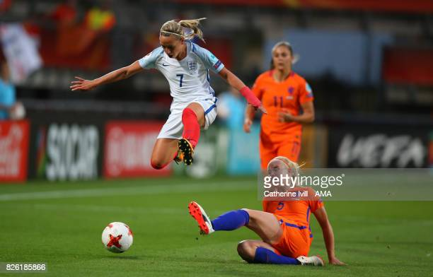 Jordan Nobbs of England Women jumps over Kika van Es of Netherlands Women during the UEFA Women's Euro 2017 semi final match between Netherlands and...