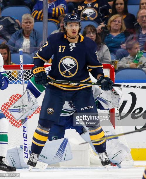 Jordan Nolan of the Buffalo Sabres during the game against the Vancouver Canucks at the KeyBank Center on October 20 2017 in Buffalo New York