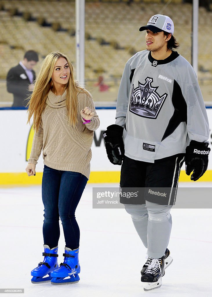 <a gi-track='captionPersonalityLinkClicked' href=/galleries/search?phrase=Jordan+Nolan&family=editorial&specificpeople=4161890 ng-click='$event.stopPropagation()'>Jordan Nolan</a> #71 of the Los Angeles Kings skates with his girlfriend Laura during the family skate after the team practice for the 2014 Coors Light NHL Stadium Series against the Anaheim Ducks at Dodger Stadium on January 24, 2014 in Los Angeles, California.