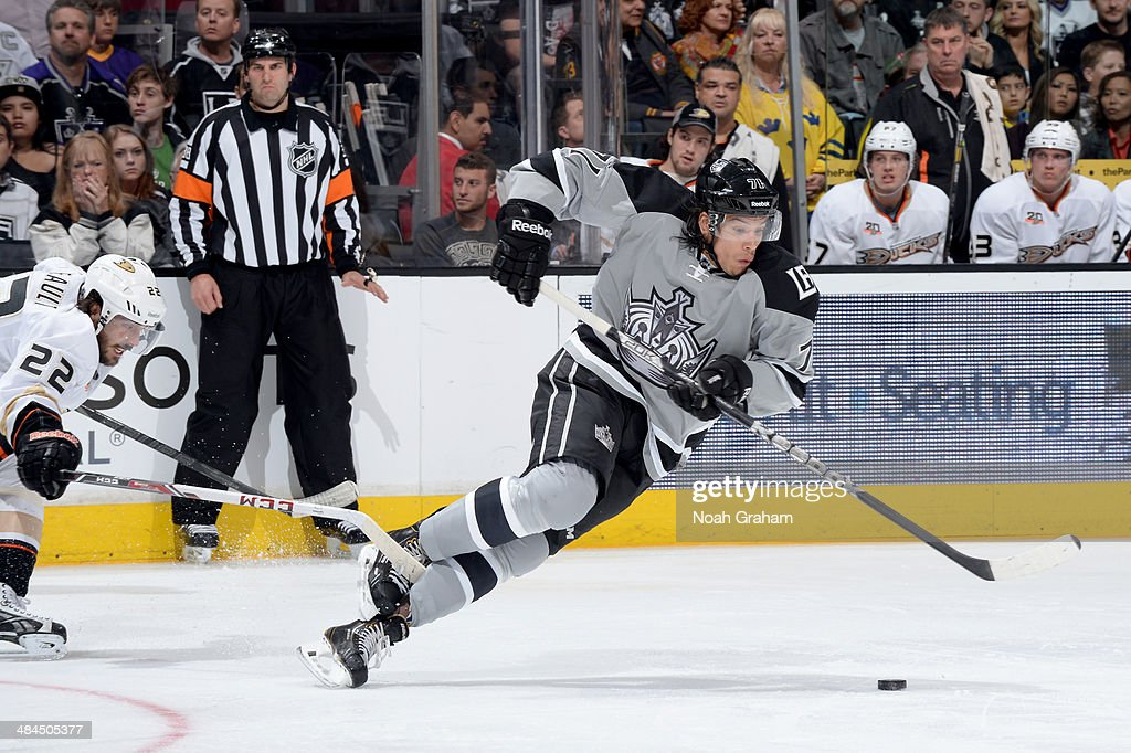 <a gi-track='captionPersonalityLinkClicked' href=/galleries/search?phrase=Jordan+Nolan&family=editorial&specificpeople=4161890 ng-click='$event.stopPropagation()'>Jordan Nolan</a> #71 of the Los Angeles Kings skates with the puck against the Anaheim Ducks at Staples Center on April 12, 2014 in Los Angeles, California.