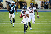 Jordan Norwood of the Denver Broncos returns a punt against the Carolina Panthers in the second quarter during Super Bowl 50 at Levi's Stadium on...