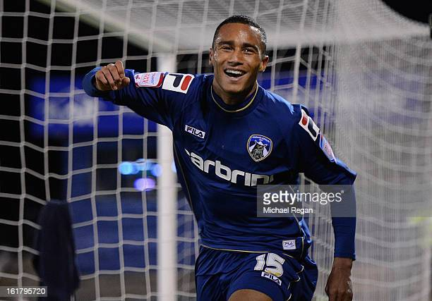 Jordan Obita of Oldham Athletic celebrates scoring the opening goal during the FA Cup with Budweiser Fifth Round match between Oldham Athletic and...