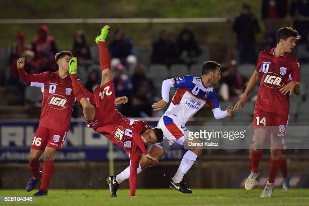 Jordan O'Doherty of United lands heavily during the round of 32 FFA Cup match between Adelaide United and the Newcastle Jets at Coopers Stadium on...