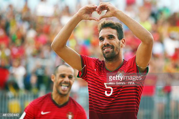 Jordan of Portugal with team mate Madjer during the FIFA Beach Soccer World Cup Portugal 2015 Semifinal match between Portugal and Russia at Espinho...